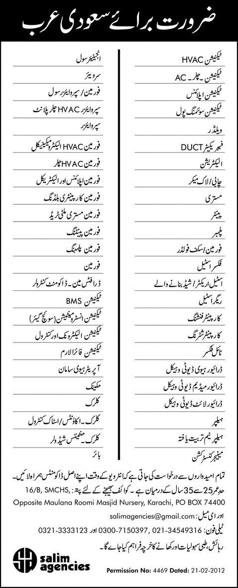 Different Jobs in Saudi Arabia for Pakistanis