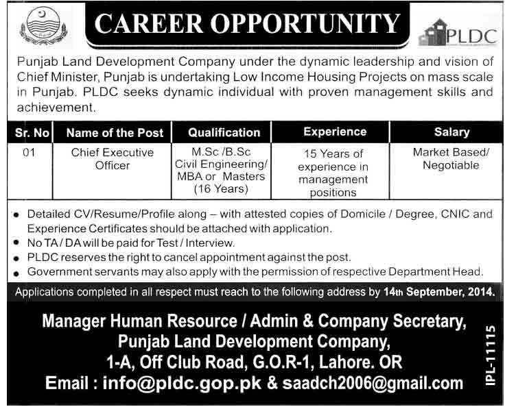 Chief Executive officer Jobs 2014 Punjab Land Development LDA Important Notification for Housing Schemes