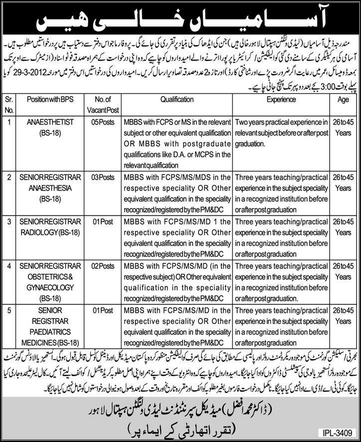 Lady Willingdon Hospital Lahore Jobs 2016 Application Form
