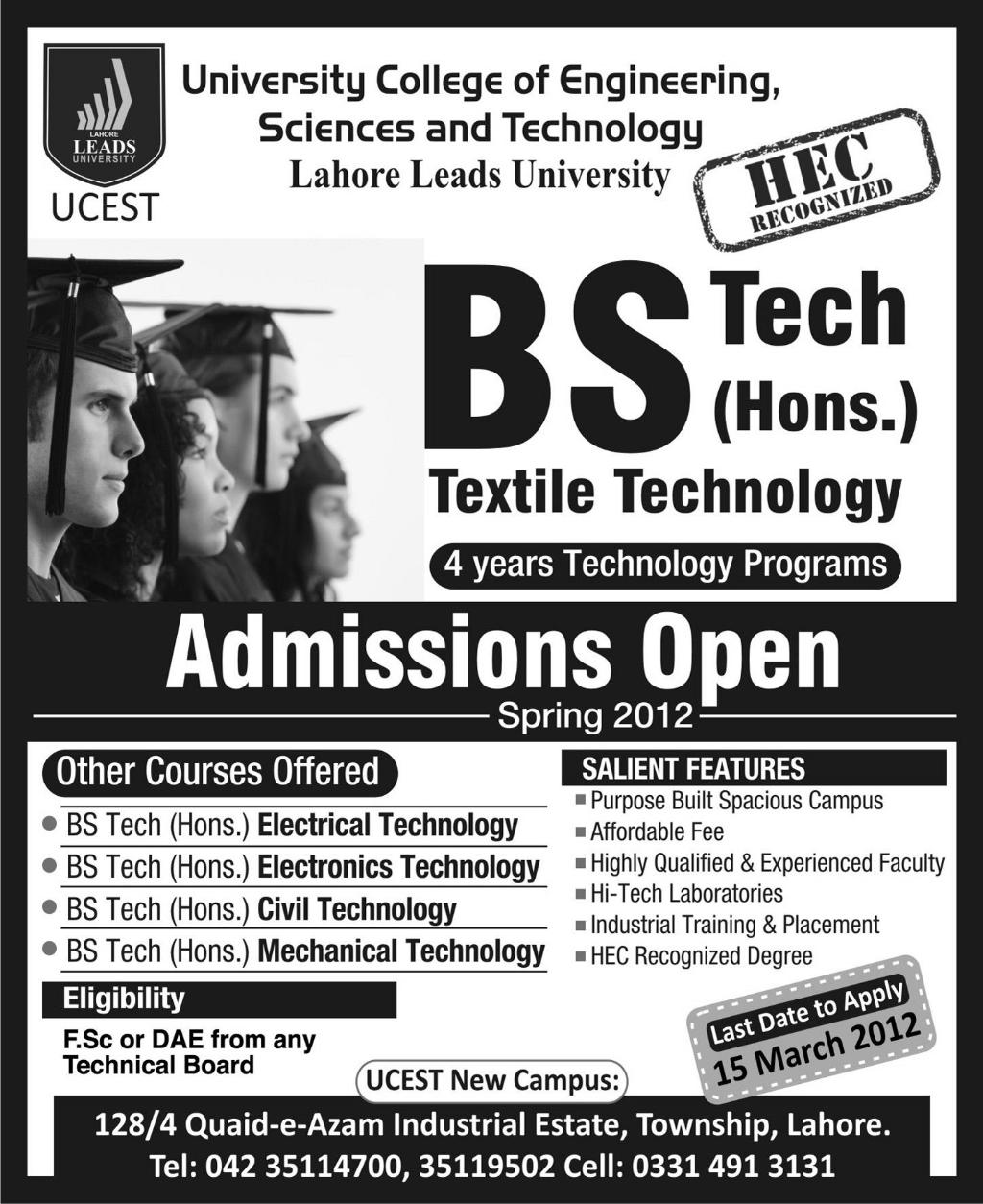 University College of Engineering Sciences  Technology Admissions 2015