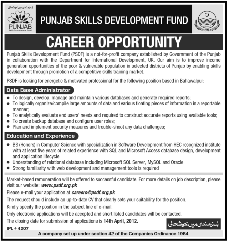 The Punjab Skills Development Fund Jobs