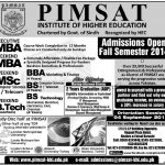 Pimsat Institute Higher Education Lahore Admissions 2016