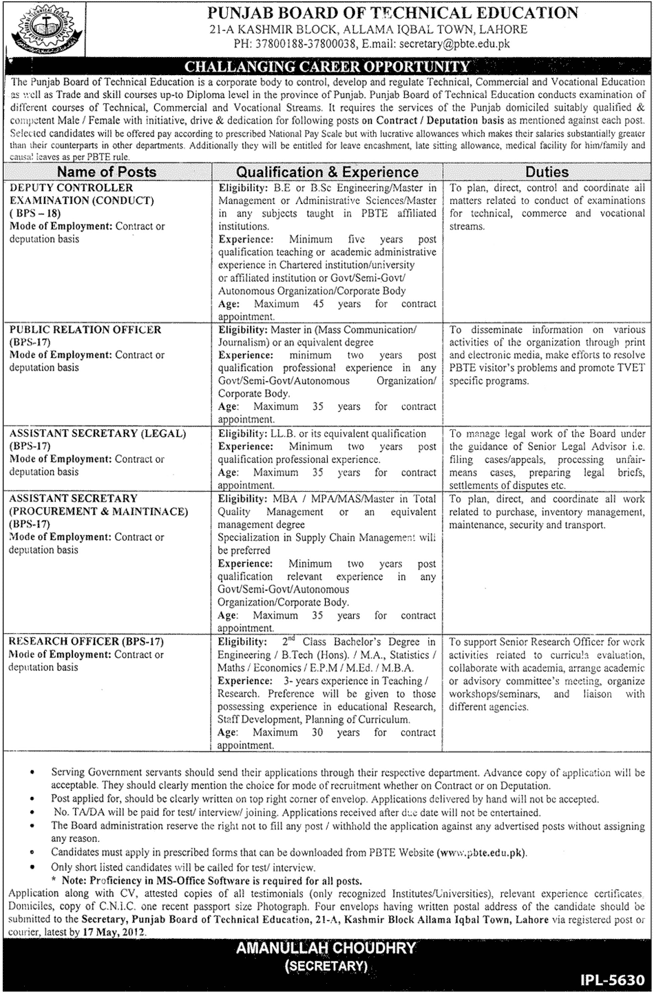 punjab board of technical education lahore jobs 2012 Punjab Board of Technical Education Lahore Jobs 2012