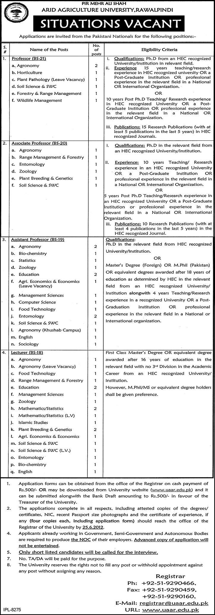 Jobs In Arid Agriculture University Rawalpindi 2012 Jobs In Arid Agriculture University Rawalpindi 2012