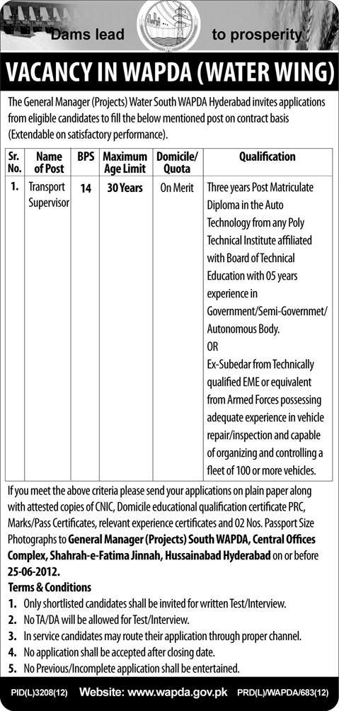 Jobs in Wapda 2012 Water Wing Jobs in Wapda 2012 Water Wing