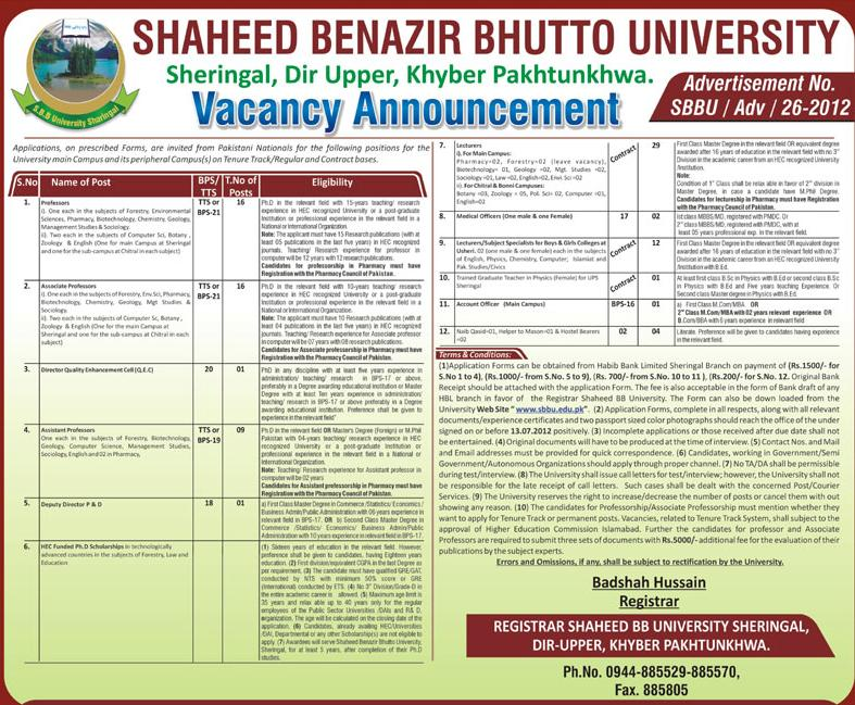 jobs in kpk Jobs In Shaheed Benazir Bhutto University