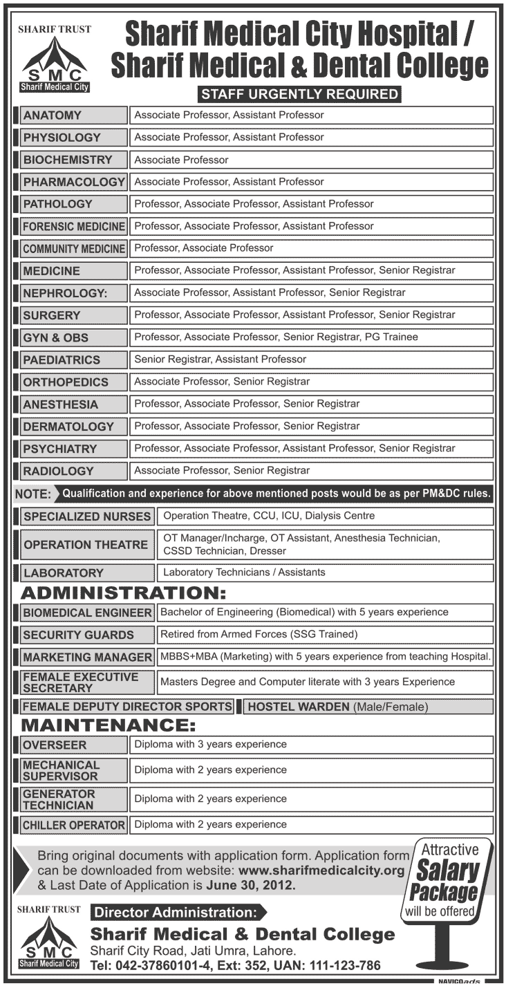 sharif medical city hospital lahore pakistan Jobs 2012 Sharif Medical City Hospital Lahore Pakistan Jobs 2012