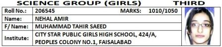 10 BISE Faisalabad Matric SSC (10th Class) Top Position Holders 2012