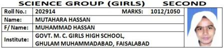 8 BISE Faisalabad Matric SSC (10th Class) Top Position Holders 2012