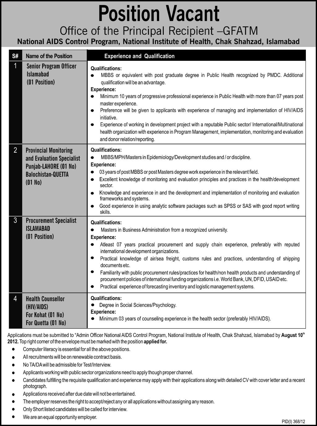 National Institute of Health Islamabad Jobs for Doctors National Institute of Health Islamabad Jobs for Doctors