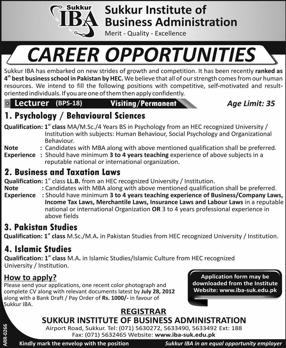 Sukkur Institute of Business Administration Lecturer Jobs 2012 ...