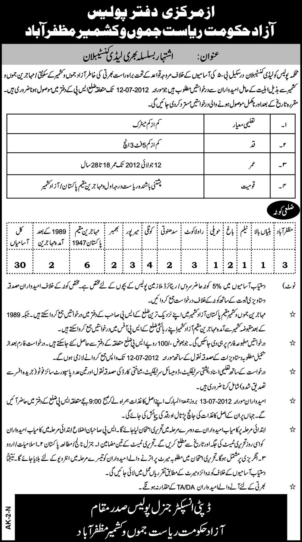 jobs in police constables in azad kashmir Lady Police Constable Jobs In Azad Kashmir
