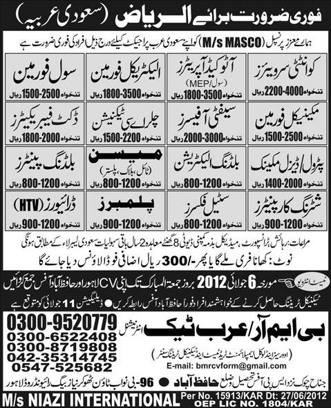 jobs in saudi arabia Quantity Surveyor, Auto Cad Operator, Foreman