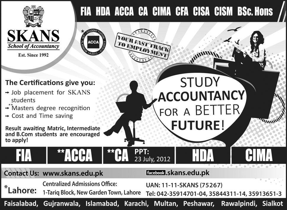 skans school of accountancy lahore admissions 2012 TSA Tabanis School of Accountancy Admissions 2015
