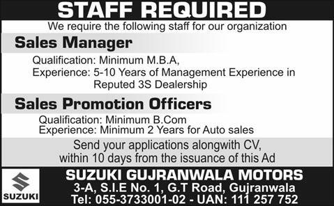 Sales Manager & Sales Promotion Officers Jobs in Suzuki Gujranwala ...