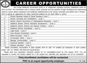 The Punjab Healthcare Commission Jobs 2012