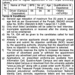 Driver Jobs in University of the Punjab 2012 150x150 PU Date Sheet for The B.A./B.Sc Supplementary Examination