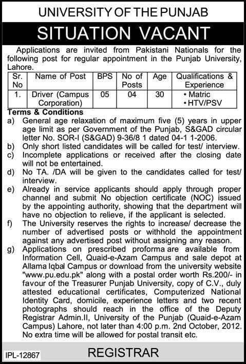 Driver Jobs in University of the Punjab 2012 Punjab University Lahore Careers, Pu.edu.pk Jobs 2015