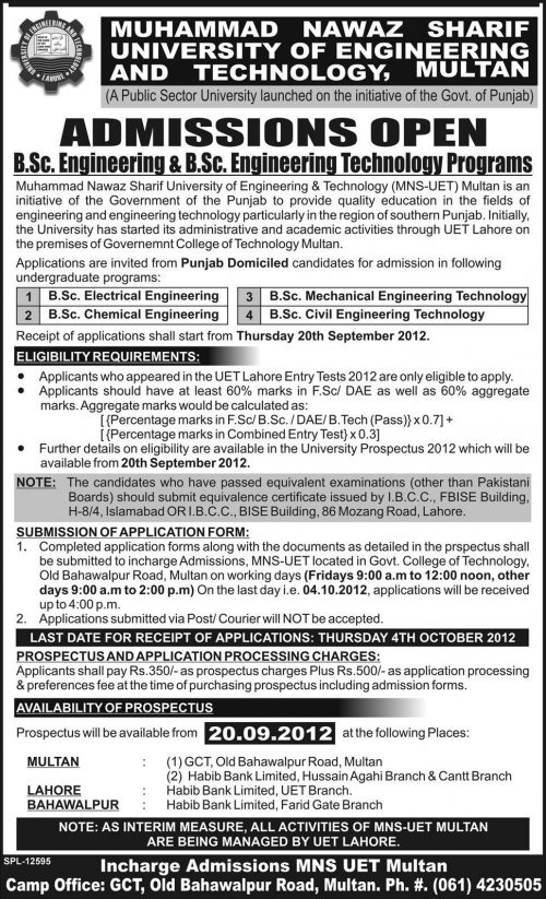 Muhammad Nawaz Sharif University of engineering & Technology Admissions 2012
