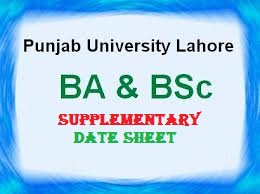 Punjab University BA BSc Date Sheet PU Date Sheet for The B.A./B.Sc Supplementary Examination