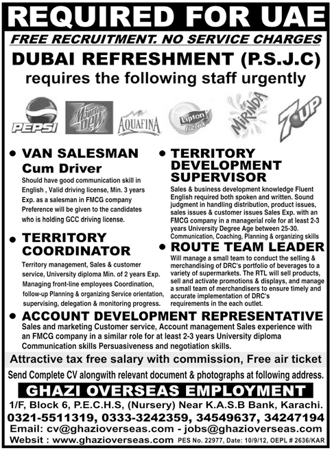 UAE Jobs for Pakistani sales Team 2012 UAE Jobs for Pakistani sales Team 2012