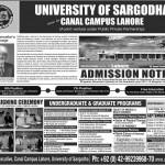 University of sargodha Admission Notice 2012 150x150 University of Sargodha Lahore Campus Spring Admissions 2013