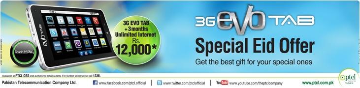 3G EVO Tab Special EID Offer Unlimited Internet
