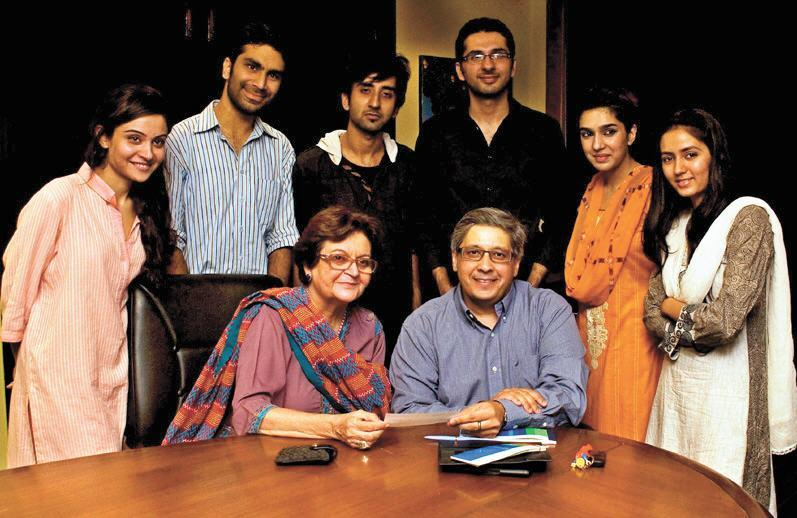 students with Prof salima hashmi and Mansoor Nawaz Picture