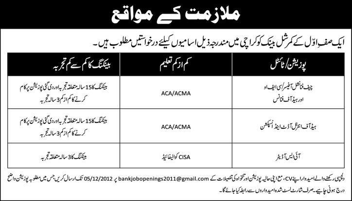 Bank Jobs in Karachi Pakistan