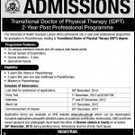 University Of Health Sciences Lahore Admissions 150x150 Margalla Institute of Health Sciences Admissions BDS, DPT, Pharm D