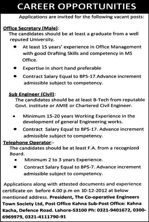 Office Secretary, Sub Engineer (Civil) Telephone Operator