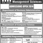 Pak Aims The Institute Of Management Sciences Admissions 2014