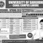 University of Sargodha 150x150 Margalla Institute of Health Sciences Admissions BDS, DPT, Pharm D