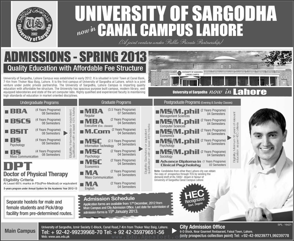 University of Sargodha University of Sargodha Lahore Campus Spring Admissions 2013