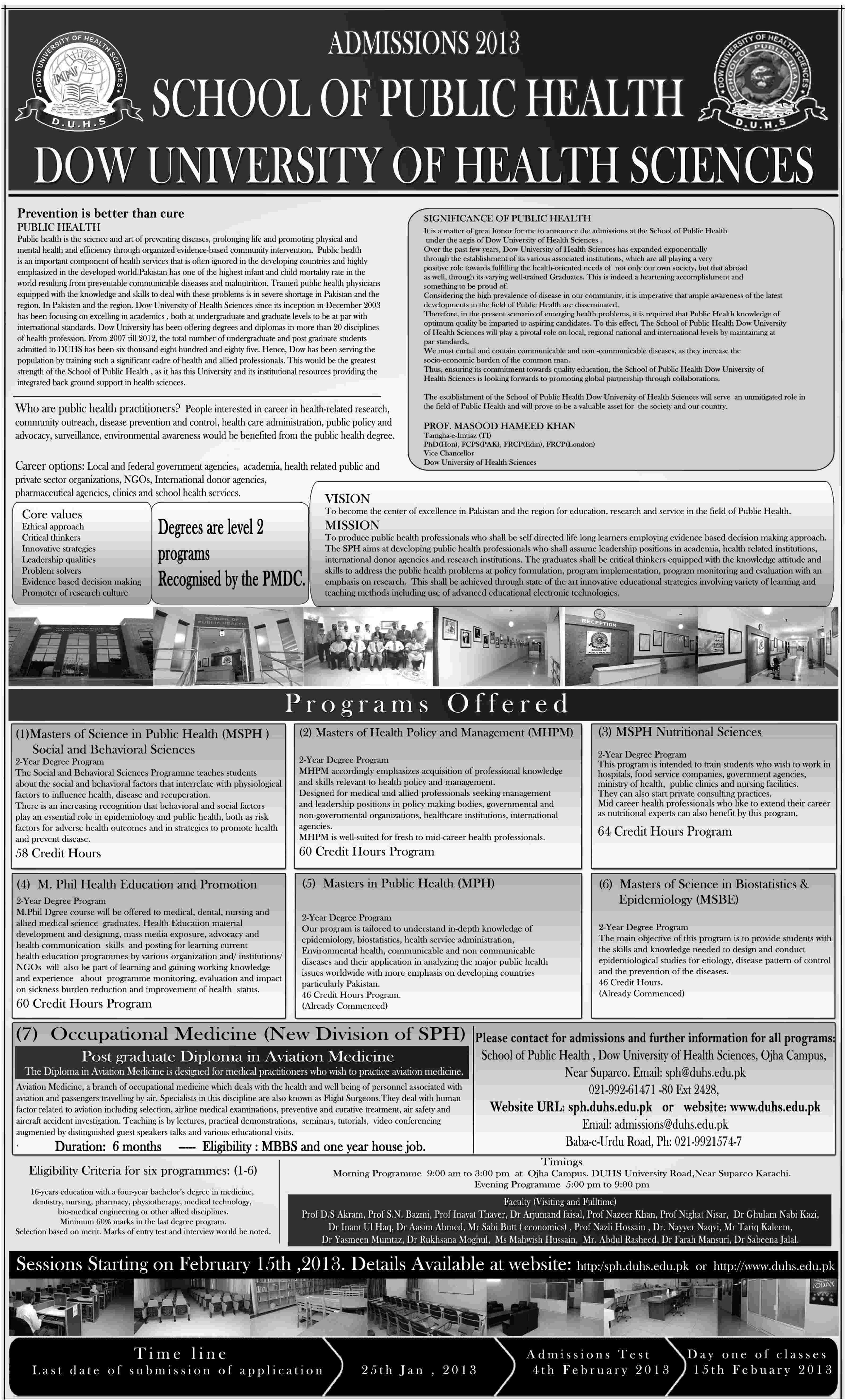 Dow admissions 2013 Dow University Of health Sciences Offer MS/M.Phil Admissions 2013