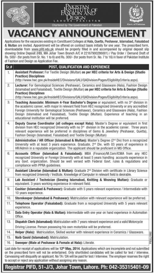 Jobs In Pakistan Institute Of Fashion Design Lahore 2018