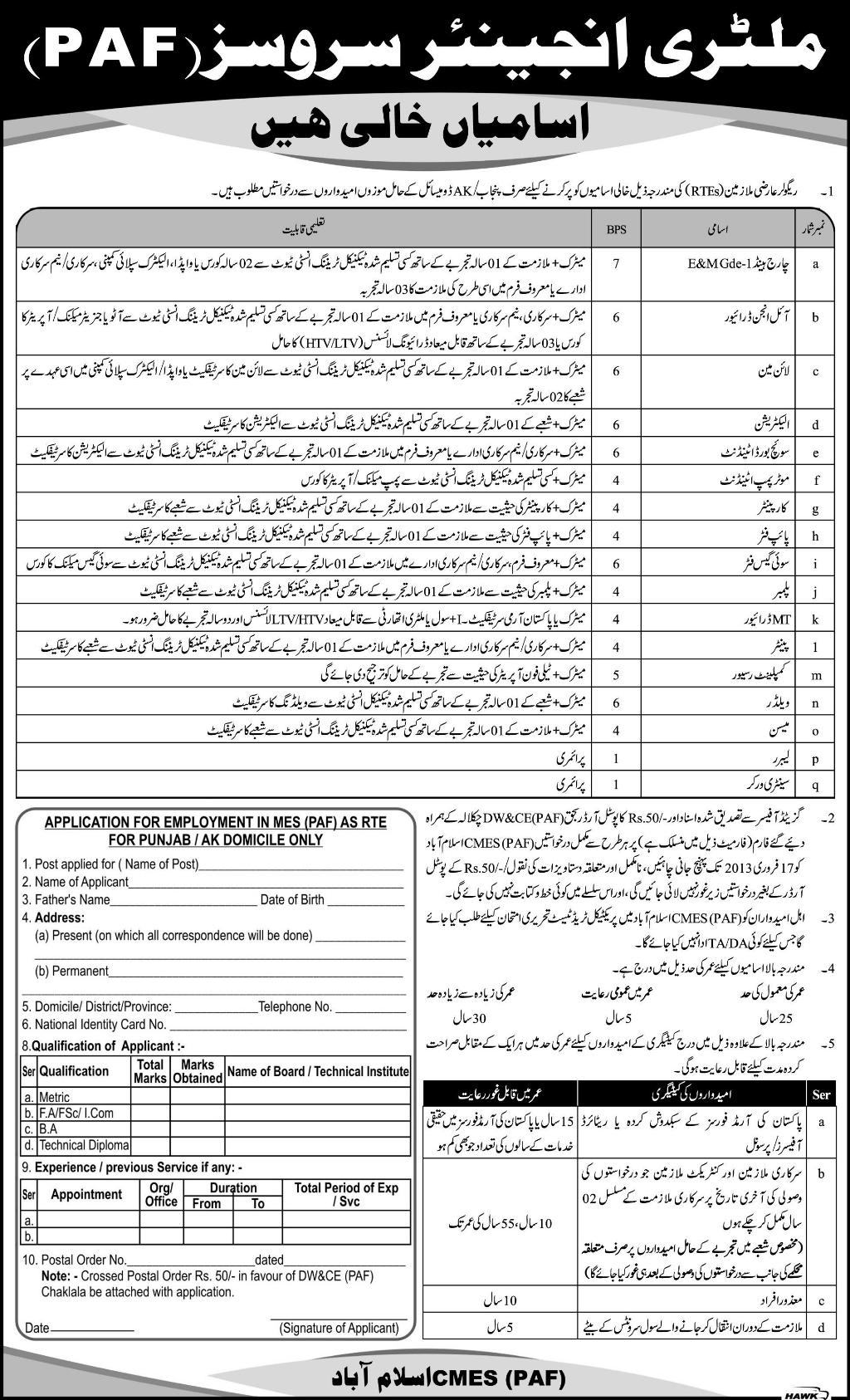 Military Engineering Services, MES PAF Jobs January
