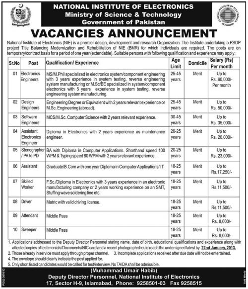 National institute of electronics (Ministry Of science and Techonogy) Jobs