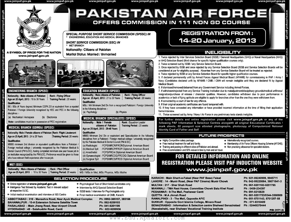 Pakistan Air Force Jobs 2013 111 Non GD Course Pakistan Air Force Jobs  2013 111 Non GD Course