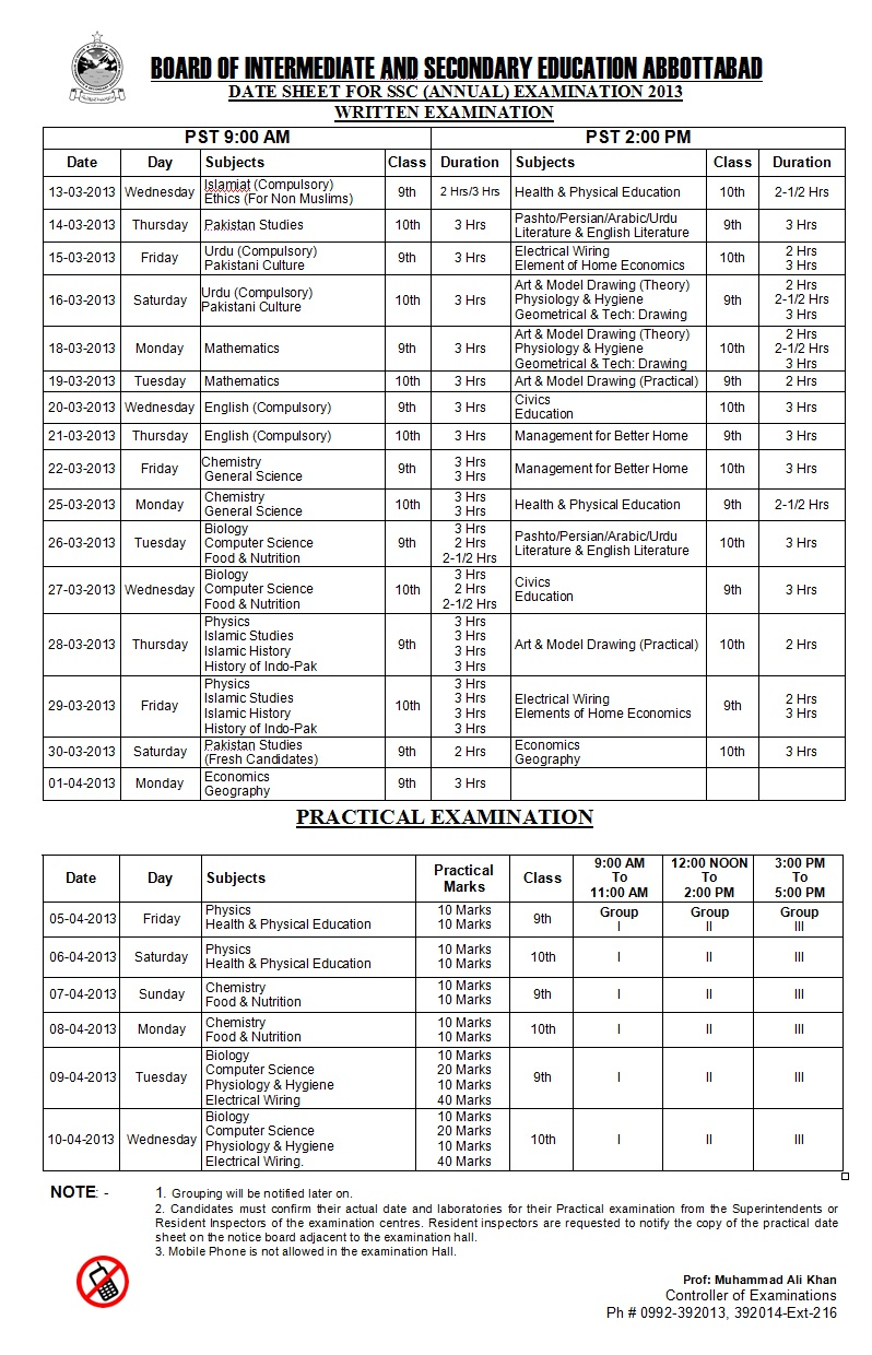 BISE Abbottabad Board 10th 9th Class Date sheet 2016