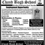 Jobs Opportunities in Chand Bagh School Lahore 2016