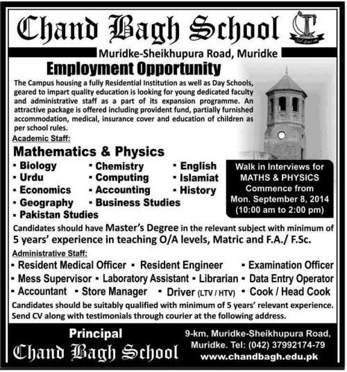 chand-Bagh-College-Jobs 2014