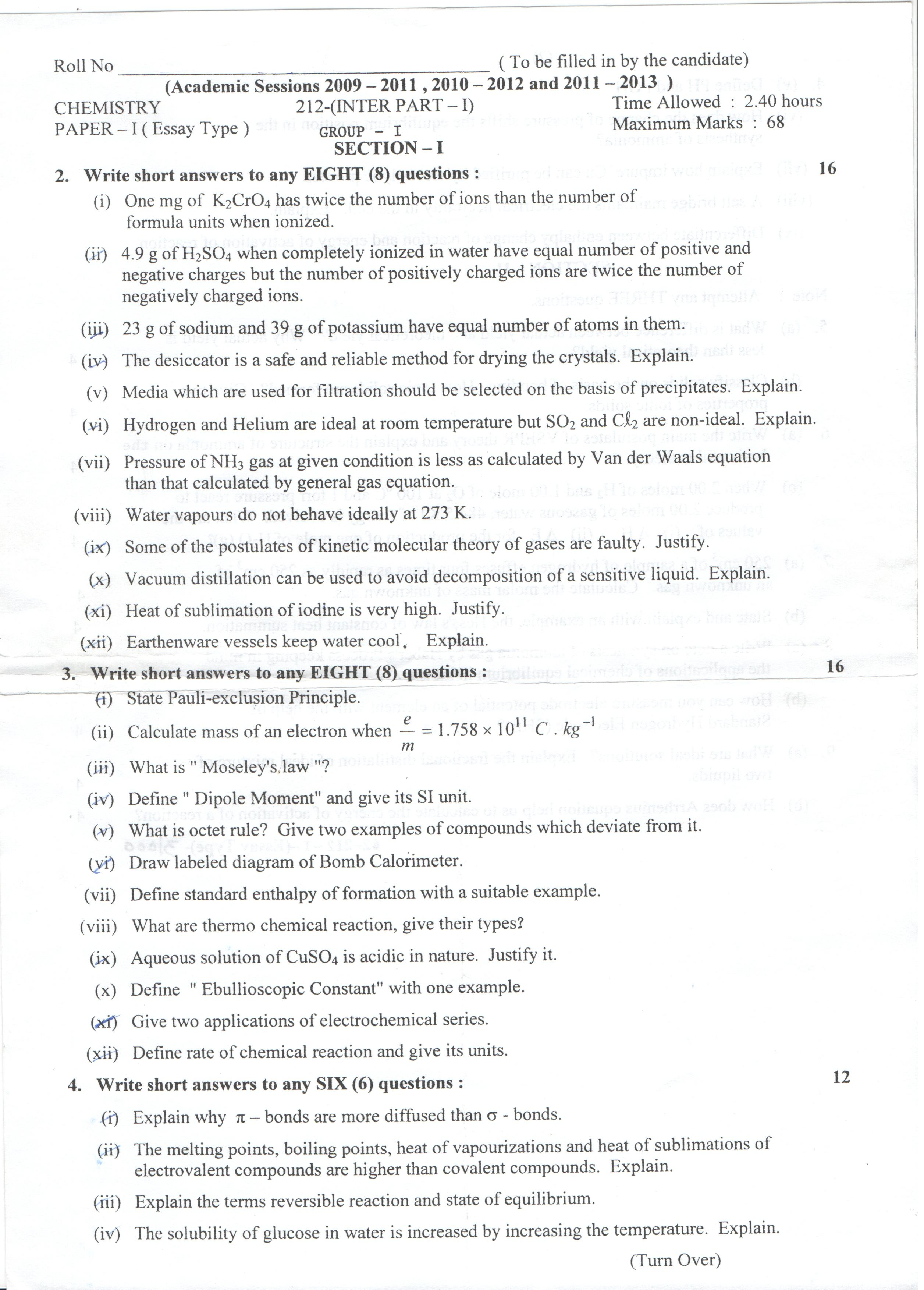chemistry front Lahore Board Chemistry part 1 class 11 Past Paper 2012