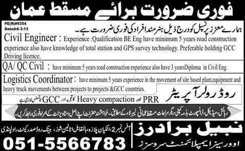 Civil engineer Job in muscat oman for Pakistani