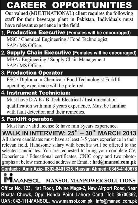 Mansol Manpower Solutions Lahore Jobs 2013
