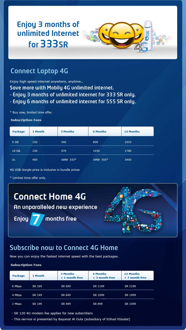Saudi arabia new lowest price internet packages by mobily for Mobilia internet