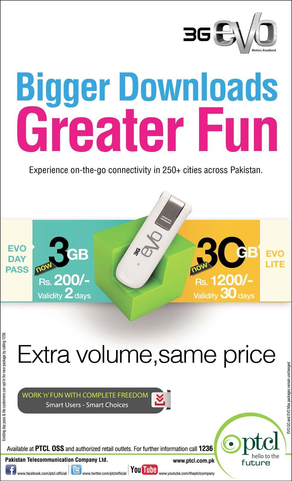 PTCL Evo 3G Offer Extra Volume with Same Price