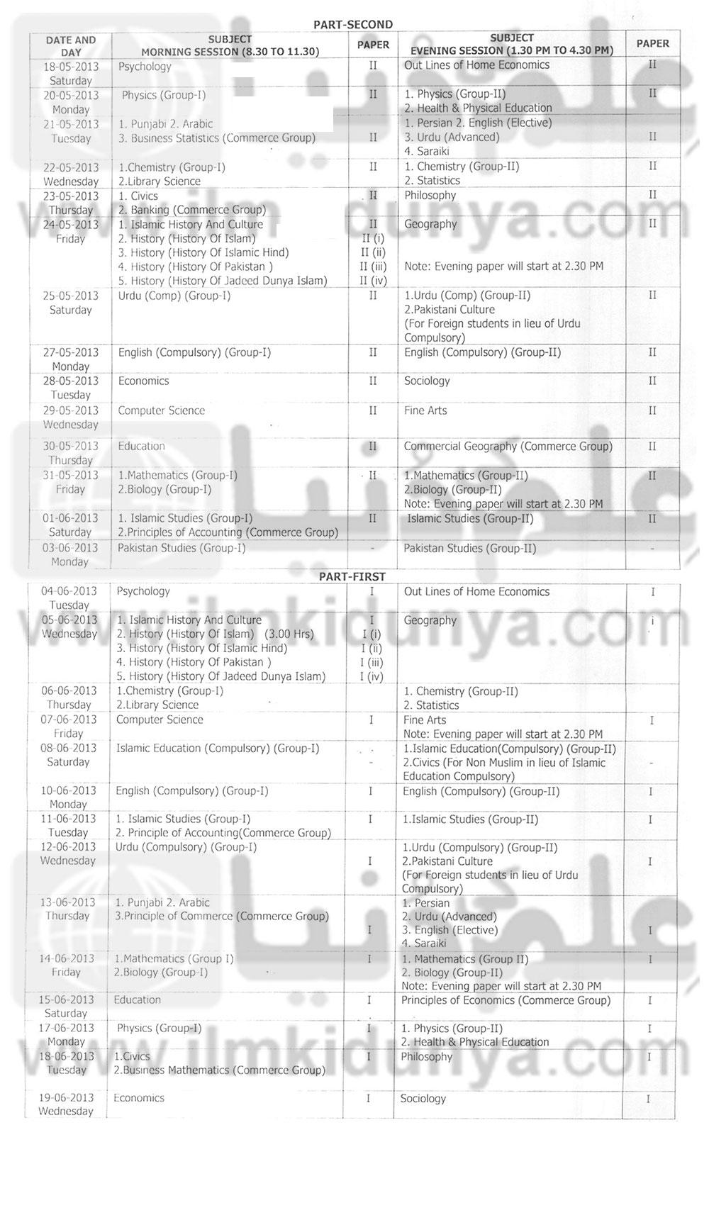 Bise DG Khan Board F.A Fsc 11th 12th Class Date Sheet 2017