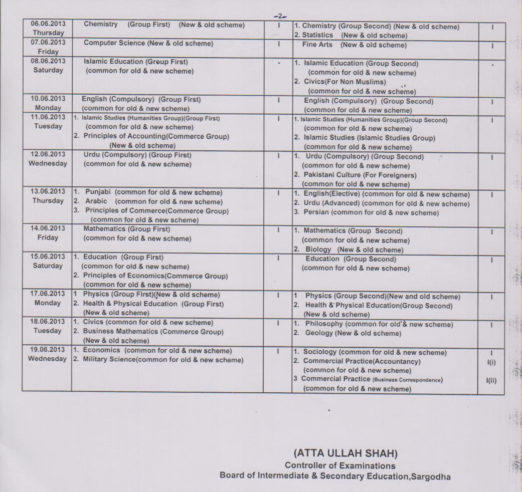 Bise Sargodha Board 11th 12th Class Date Sheet 2013