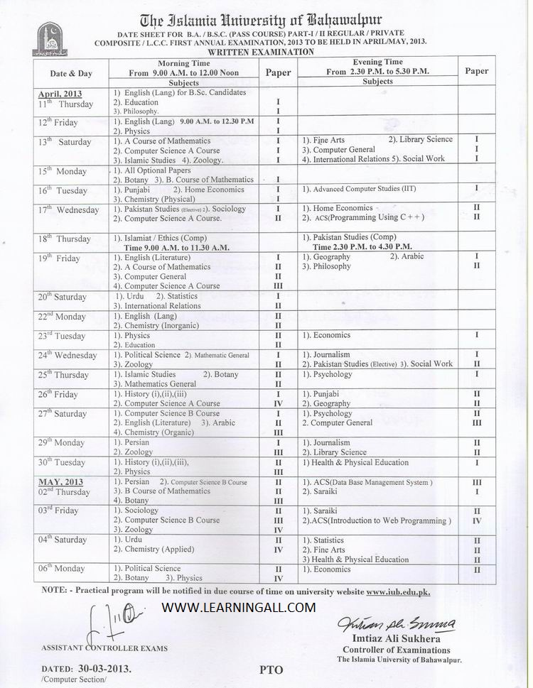 IUB Date Sheet B.ABSC 2013 The Islamia University of Bahawalpur Date Sheet B.A,BSC 2013